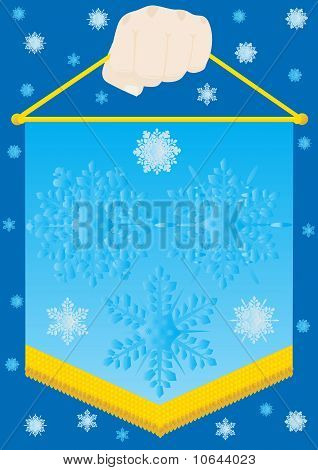 Pennant with snowflakes