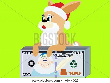 Rabbit with a bundle of money