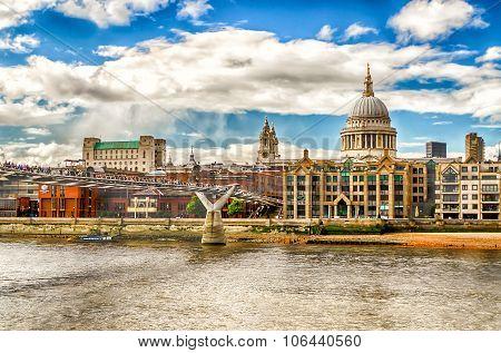 The Millennium Bridge Against St Paul Cathedral, London