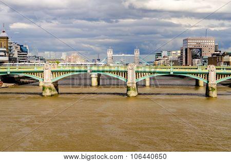 London Cityscape With Tower Bridge Over Southwark Bridge