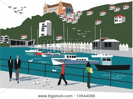 Wellington New Zealand illustration