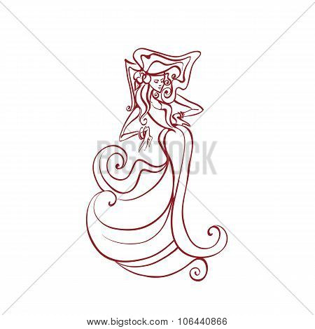line work illustration of flamenco  dancer