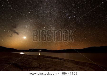 Starry Bright Night And A Moon Over Lake Powell Utah