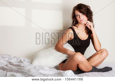 Sexy Girl Thoughtful Woman On Bed In Bedroom