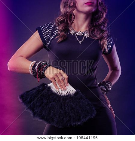 Woman Evening Dress With Black Fan In Hand