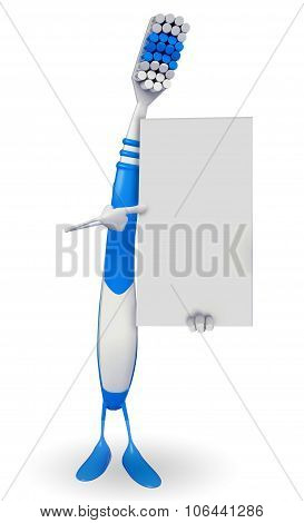 Toothbrush Character With Sign