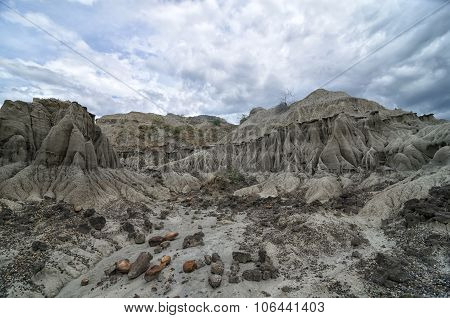 Stunning View To Sandstone Formation In Tatacoa Desert Under Cloudy Sky