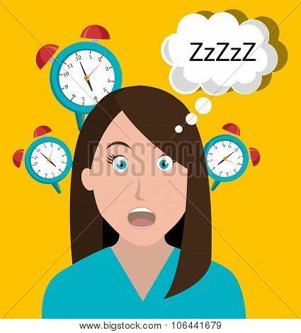 Woman waking up cartoon