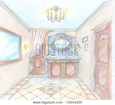 Hand drawn sketch of a washroom