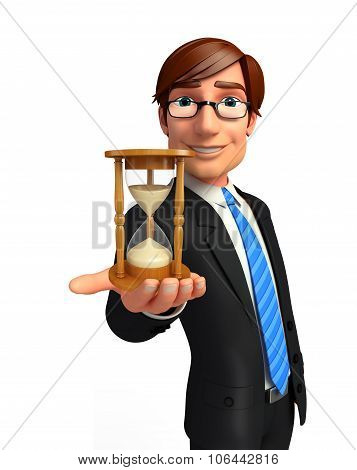 Young Business Man With Sand Clock