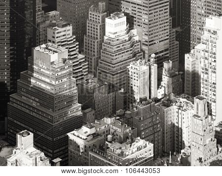 Black and white aerial view of the urban landscape of New York City