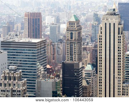 Urban scene with modern and vintage skyscrapers in New York City