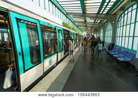 PARIS - SEPTEMBER 10, 2014: interior of Paris Metropolitain station. The Paris Metro or Metropolitain is a rapid transit system in the Paris Metropolitan Area