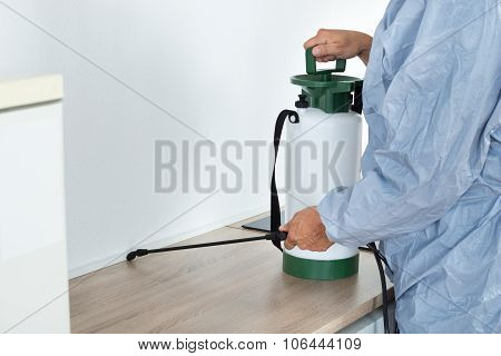 Exterminator Spraying Pesticide On Kitchen Counter
