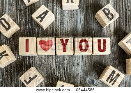 Wooden Blocks with the text: I Love You