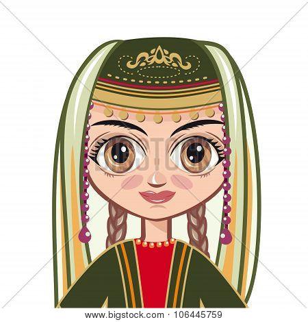 doll in the Armenian suit. Portrait, avatar