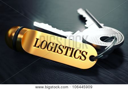 Logistics - Bunch of Keys with Text on Golden Keychain.