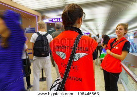 GENEVA, SWITZERLAND - SEPTEMBER 11, 2014: airport angels in Geneva Airport. Geneva Airport, formerly known as Cointrin Airport, is the international airport of Geneva