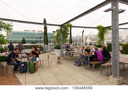 GENEVA, SWITZERLAND - SEPTEMBER 11, 2014: terrace in Geneva Airport. Geneva Airport, formerly known as Cointrin Airport, is the international airport of Geneva