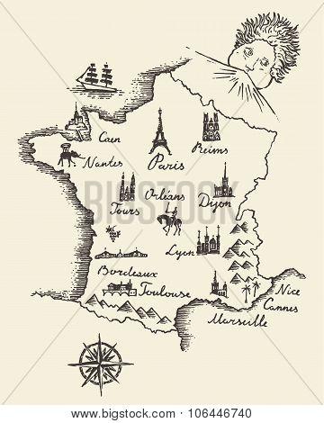 Map of France vintage engraved illustration sketch
