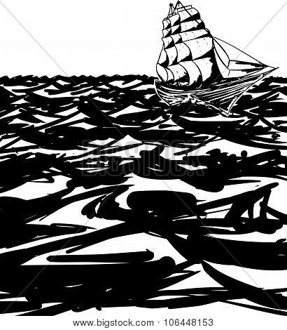 Outlined Clipper Ship On Ocean