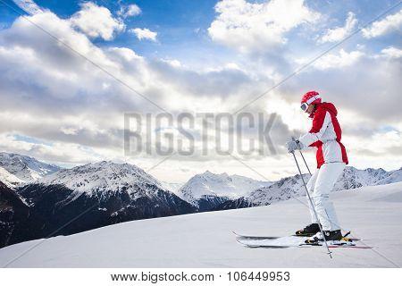 Woman Skiing At Ski Resort Solden