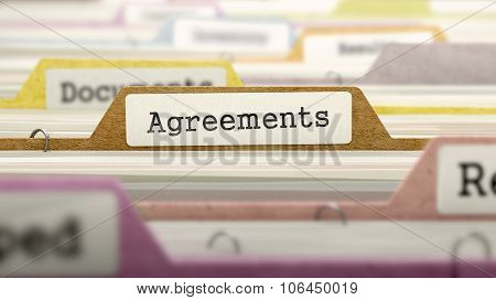 File Folder Labeled as Agreements.
