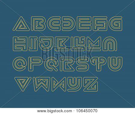 Snake Stripe Font Set. Outlined