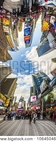 People Visit Times Square, Featured With Broadway Theaters And Huge Number Of Led Signs