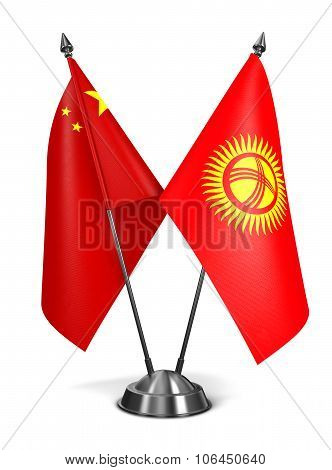 China and Kyrgyzstan - Miniature Flags.