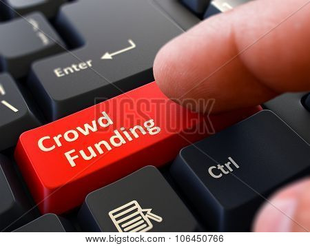 Crowd Funding - Written on Red Keyboard Key.