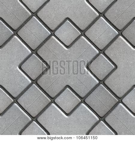 Gray Paving  Slabs as Large Rhombuses with a Cross in the Center.