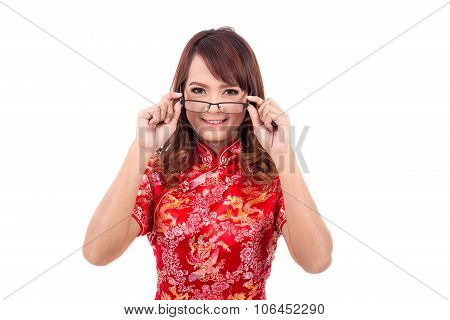 Asian Chinese Girl Wear Or Handle Glasses In Traditional Chinese , Chinese New Year, Enjoy, Happy