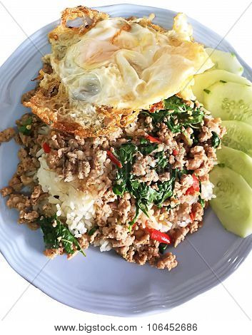 Thai Spicy Food Basil Pork Fried With Rice And Fried Egg ,pad Kra Phao Moo