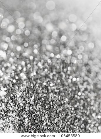 Holiday Abstract Black And White Glitter Background With Blinking Stars