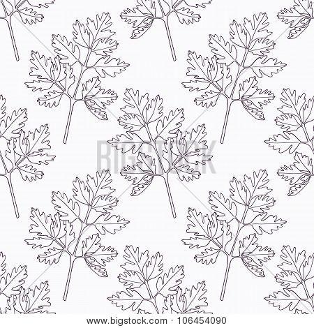 Hand drawn chervil branch outline seamless pattern