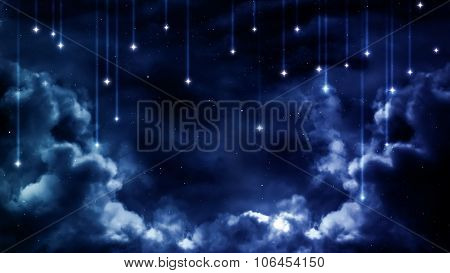 Peaceful background, blue night sky. Elements furnished by NASA