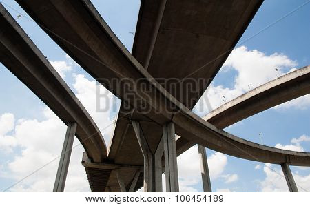 Bhumibol Bridge, The Industrial Ring Road Bridge In Bangkok, Thailand