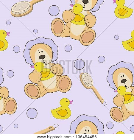 Teddy bear bath time seamless  pattern
