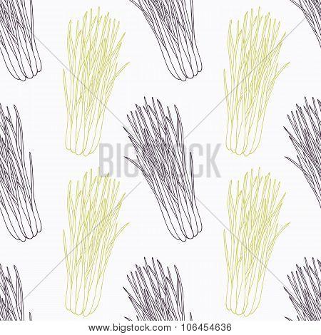 Hand drawn lemongrass branch wirh flowers stylized black and green seamless pattern