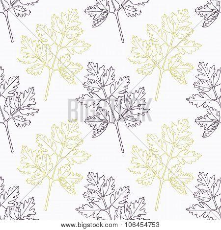 Hand drawn chervil branch wirh flowers stylized black and green seamless pattern