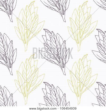Hand drawn sage branch wirh flowers stylized black and green seamless pattern
