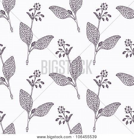 Hand drawn borage branch outline seamless pattern