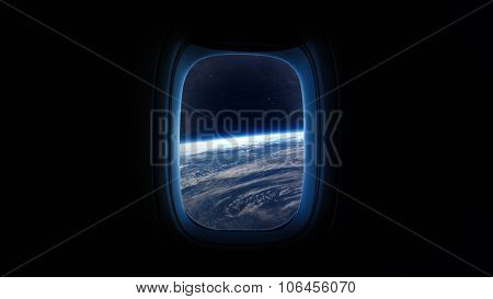 Earth planet in space ship window porthole. Elements of this image furnished by NASA.