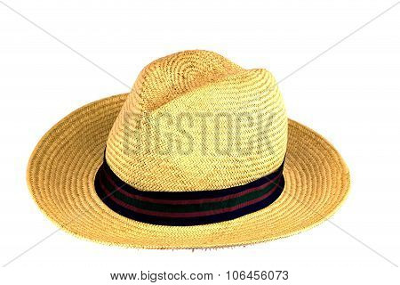 Old Straw Hat On White Background