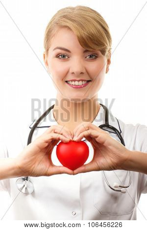 Woman Doctor With Stethoscope Holding Red Heart, Healthcare Concept