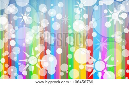 Abstract Colorful Composed Background with bubbles and Star