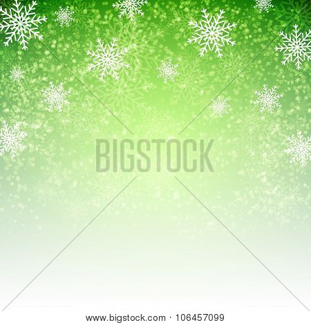 Green  Christmas Background With  Snowflakes