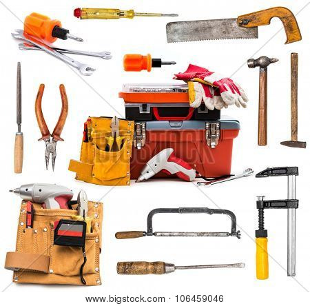 set of building tools isolated on white background