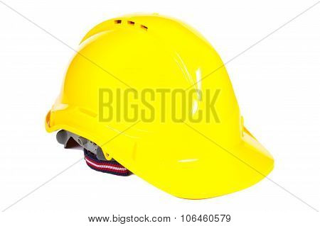 Closeup Of Yellow Protective Helmet On White Background